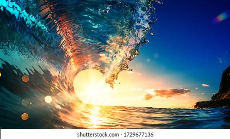 Sea wave surfing ocean lip shorebreak crest in Hawaii