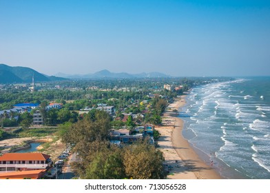 Sea waves affected by the sea shore. Kao kralok, prachuap khiri Khan.Thailad.
