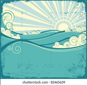 Sea waves background. Vintage illustration of sea landscape.Raster