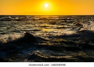 sea waves in evening sun, Point Saint Gildas, Brittany, France