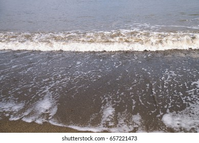 Sea with waves and foam, horizon. Crimea