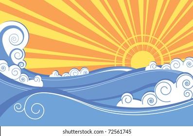 Sea waves. Illustration of sea landscape.Rastreized vector