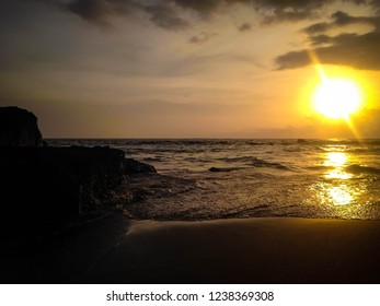 Sea Waves And The Rocks In The Sunset Moment At Batu Bolong Beach, Canggu Village, Badung, Bali, Indonesia