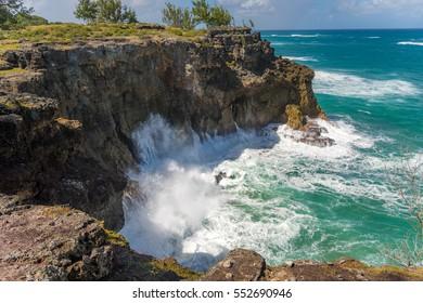 Sea waves splashing at the rocks in Barbados, green lush nature surrounding the beautiful sea water in a caribbean paradise island