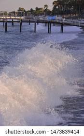 Sea waves splashing to seashore.