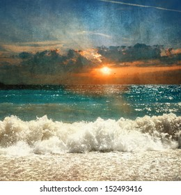 sea with waves and sunset - retro style picture
