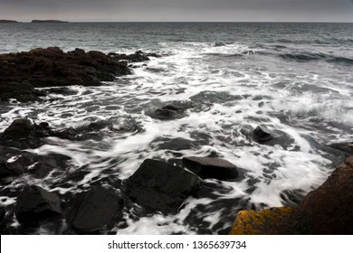 Sea Waves in Winter in Sozopol, Bulgaria