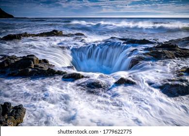 Sea whirlpool view. Sea funnel