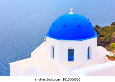 Sea and white church, Santorini, Greece
