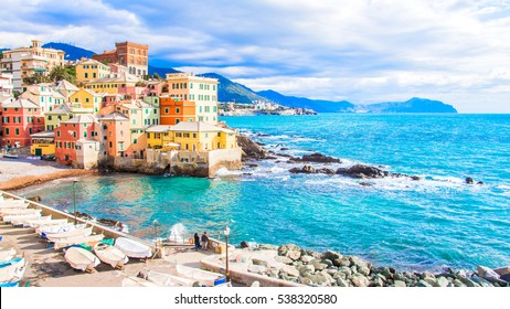 Sea in a winter day in Boccadasse, a district of Genoa in Italy,