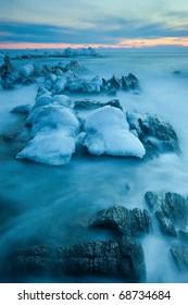 Sea, winter landscape. Far East of Russia.