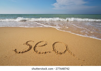 Sea word on the beach. Element of design.