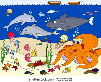Seabed with marine animals. Raster for kids, cartoon. Fish, octopus, shark, dolphin, boat, fishing, starfish, fish moon crab cancer bottom seaweed waves and sea horse