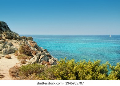 Seaboard way through Desert of Agriates to plage of Saleccia, Corsica- The Isle of Beauty, France.
