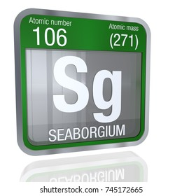Seaborgium Symbol  in square shape with metallic border and transparent background with reflection on the floor. 3D render. Element number 106 of the Periodic Table of the Elements - Chemistry