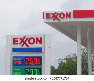 Seabrook, Texas; USA - May 3, 2019; Exxon gas station signs. Exxon is an American based oil company; it is the largest oil and gas company in the world. - image