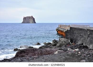 seacoast of Stromboli island,Italy