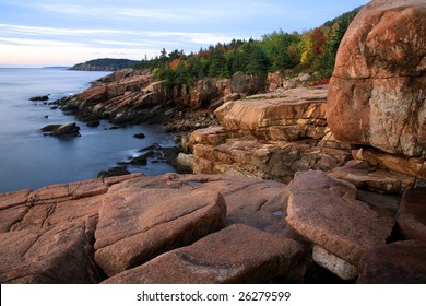 The Seacoast At Sunrise, Acadia National Park