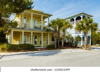 Seacrest Beach, Florida USA - March 29, 2016: Beautiful vacation homes in the North Florida panhandle coastal community.