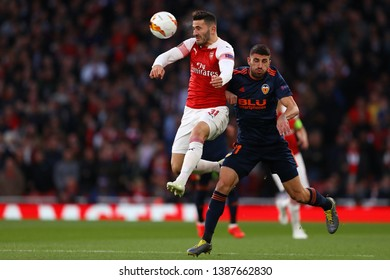 Sead Kolasinac of Arsenal and Cristiano Piccini of Valencia - Arsenal v Valencia, UEFA Europa League Semi Final - 1st Leg, Emirates Stadium, London (Holloway) - 2nd May 2019