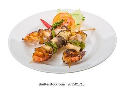 Seafood barbeque - shrimp, calamari, tuna