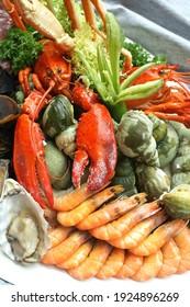 Seafood buffet food menu gourmet
