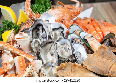 Seafood buffet (Oyster and Alaska King) Crab in hotel restaurant