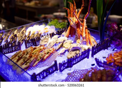 Seafood buffet in a restaurant