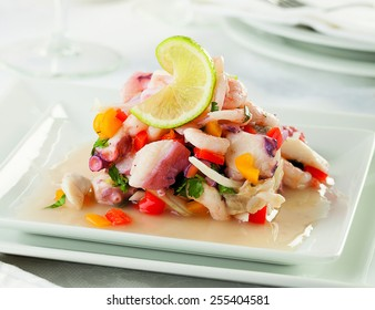 Seafood ceviche, typical dish from Peru