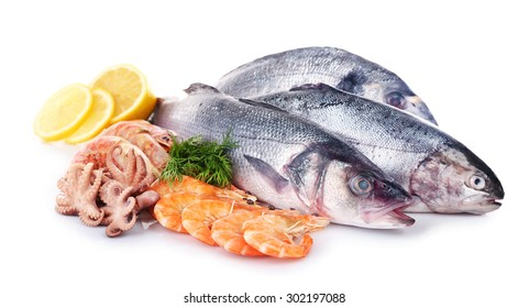 Seafood collection isolated on white