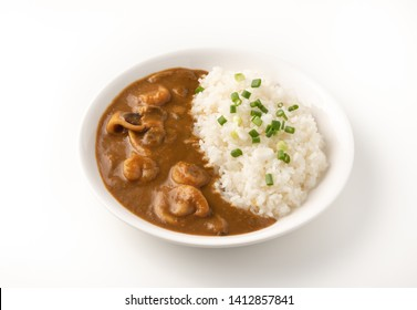 seafood curry japan with rice on isolated