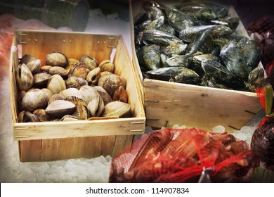 Seafood in a fish market