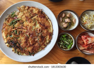 seafood greenonion pancake and side dishes, Korean food
