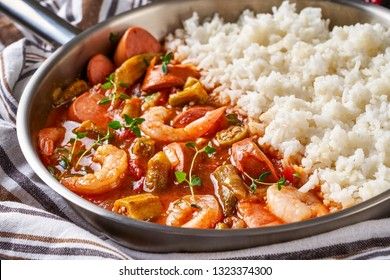 Seafood gumbo dish from southwestern american cuisine from sausage and shrimps