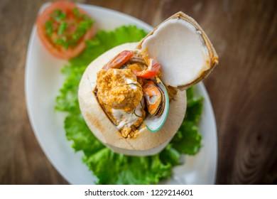 Seafood Hor Mok Coconut shell