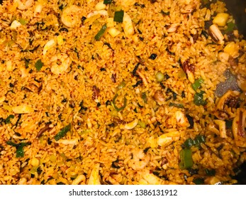 Seafood kimchi fried rice with gochujang