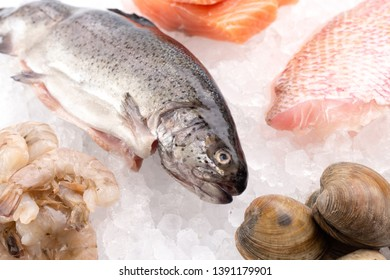 Seafood Laid Out on a Bed of Ice at a Fish Market or Fishmongers