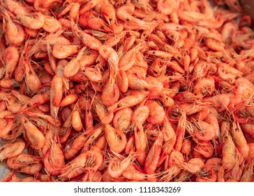 Seafood. Many marine boiled shrimps are ready-to-eat shrimp.