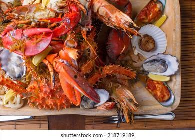 Seafood mix platter close up