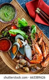 Seafood mix platter in restaurant