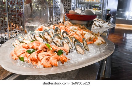 Seafood on ice in restaurant buffet
