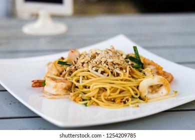 Seafood padthai spaghetti