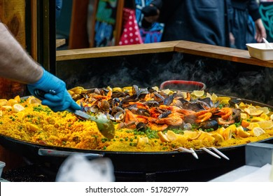 Seafood paella sold at Borough Market in London