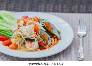 seafood papaya salad dish