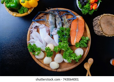 Seafood Party Shrimp, Salmon, Oyster on Wood  Tray Party Time