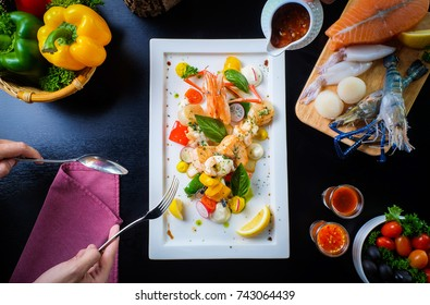 Seafood Party  Shrimp, Salmon, Oyster, Eating Hand use spoon and fork