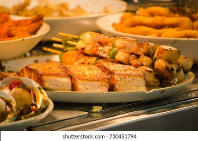 Seafood platter display at a seafood restaurant.