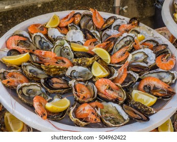 Seafood platter of shrimp and oysters