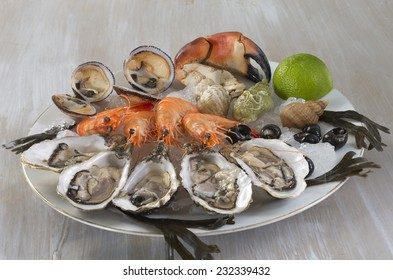 Seafood platter with sydney rock oysters, crab, rock lobster, prawns, mussels, clams and cockles