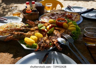 Seafood in a restaurant on one of the beaches of Brazil.
